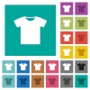 T-shirt square flat multi colored icons - T-shirt multi colored flat icons on plain square backgrounds. Included white and darker icon variations for hover or active effects.