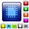 Computer processor color square buttons - Computer processor icons in rounded square color glossy button set