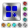 Component bug rounded square steel buttons - Component bug engraved icons on rounded square glossy steel buttons