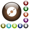 DVD disk color glass buttons - DVD disk white icons on round color glass buttons