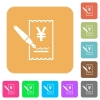 Signing Yen cheque rounded square flat icons - Signing Yen cheque flat icons on rounded square vivid color backgrounds.