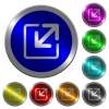 Resize window luminous coin-like round color buttons - Resize window icons on round luminous coin-like color steel buttons
