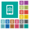 Mobile photography square flat multi colored icons - Mobile photography multi colored flat icons on plain square backgrounds. Included white and darker icon variations for hover or active effects.