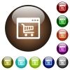 Webshop application color glass buttons - Webshop application white icons on round color glass buttons