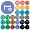 Credit card print record round flat multi colored icons - Credit card print record multi colored flat icons on round backgrounds. Included white, light and dark icon variations for hover and active status effects, and bonus shades on black backgounds.