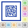 Labyrinth flat framed icons - Labyrinth flat color icons in square frames on white background