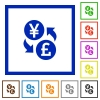 Yen Pound money exchange flat framed icons - Yen Pound money exchange flat color icons in square frames on white background
