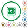 Rupee strong box flat icons with outlines - Rupee strong box flat color icons in round outlines on white background