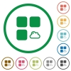 Cloud component flat icons with outlines - Cloud component flat color icons in round outlines on white background