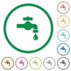 Water faucet with water drop flat icons with outlines - Water faucet with water drop flat color icons in round outlines on white background