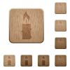 Burning candle with melting wax wooden buttons - Burning candle with melting wax on rounded square carved wooden button styles