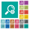 Search locked square flat multi colored icons - Search locked multi colored flat icons on plain square backgrounds. Included white and darker icon variations for hover or active effects.
