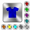 T-shirt rounded square steel buttons - T-shirt engraved icons on rounded square glossy steel buttons