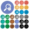 Search programming code round flat multi colored icons - Search programming code multi colored flat icons on round backgrounds. Included white, light and dark icon variations for hover and active status effects, and bonus shades on black backgounds.