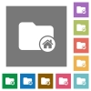 Home directory square flat icons - Home directory flat icons on simple color square backgrounds