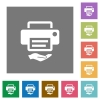 Shared printer square flat icons - Shared printer flat icons on simple color square backgrounds