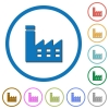 Factory building icons with shadows and outlines - Factory building flat color vector icons with shadows in round outlines on white background