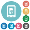 Mobile simcard accepted flat round icons - Mobile simcard accepted flat white icons on round color backgrounds