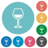 Glass of wine flat round icons - Glass of wine flat white icons on round color backgrounds
