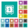 Dollar strong box square flat multi colored icons - Dollar strong box multi colored flat icons on plain square backgrounds. Included white and darker icon variations for hover or active effects.