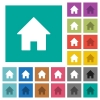 Home square flat multi colored icons - Home multi colored flat icons on plain square backgrounds. Included white and darker icon variations for hover or active effects.