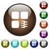 Zip component color glass buttons - Zip component white icons on round color glass buttons