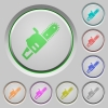 Chainsaw push buttons - Chainsaw color icons on sunk push buttons
