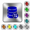 Database modules rounded square steel buttons - Database modules engraved icons on rounded square glossy steel buttons