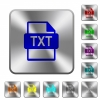 TXT file format rounded square steel buttons - TXT file format engraved icons on rounded square glossy steel buttons