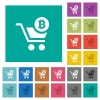 Checkout with Bitcoin cart square flat multi colored icons - Checkout with Bitcoin cart multi colored flat icons on plain square backgrounds. Included white and darker icon variations for hover or active effects.
