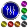 Vertical adjustment luminous coin-like round color buttons - Vertical adjustment icons on round luminous coin-like color steel buttons