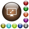 Adjust screen resolution color glass buttons - Adjust screen resolution white icons on round color glass buttons
