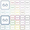 Eyeglasses color flat icons in rounded square frames. Thin and thick versions included. - Eyeglasses outlined flat color icons