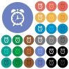 Alarm clock round flat multi colored icons - Alarm clock multi colored flat icons on round backgrounds. Included white, light and dark icon variations for hover and active status effects, and bonus shades on black backgounds.