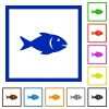 Fish flat framed icons - Fish flat color icons in square frames on white background