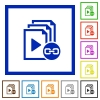 Link playlist flat framed icons - Link playlist flat color icons in square frames on white background