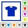 T-shirt flat framed icons - T-shirt flat color icons in square frames on white background