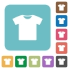 T-shirt rounded square flat icons - T-shirt white flat icons on color rounded square backgrounds