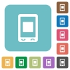 Mobile media stop rounded square flat icons - Mobile media stop white flat icons on color rounded square backgrounds