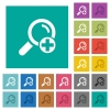 Add new search term square flat multi colored icons - Add new search term multi colored flat icons on plain square backgrounds. Included white and darker icon variations for hover or active effects.