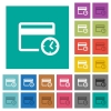 Credit card transaction history square flat multi colored icons - Credit card transaction history multi colored flat icons on plain square backgrounds. Included white and darker icon variations for hover or active effects.