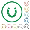 Horseshoe flat icons with outlines - Horseshoe flat color icons in round outlines on white background