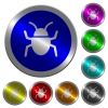 Bug luminous coin-like round color buttons - Bug icons on round luminous coin-like color steel buttons