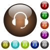Headset with microphone color glass buttons - Headset with microphone white icons on round color glass buttons