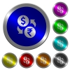 Dollar Rupee money exchange luminous coin-like round color buttons - Dollar Rupee money exchange icons on round luminous coin-like color steel buttons