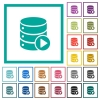 Database macro play flat color icons with quadrant frames - Database macro play flat color icons with quadrant frames on white background