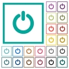 Power switch flat color icons with quadrant frames - Power switch flat color icons with quadrant frames on white background