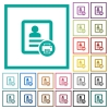 Print contact flat color icons with quadrant frames - Print contact flat color icons with quadrant frames on white background