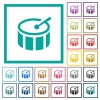 Drum flat color icons with quadrant frames - Drum flat color icons with quadrant frames on white background