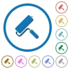 Paint roller icons with shadows and outlines - Paint roller flat color vector icons with shadows in round outlines on white background